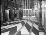 Art Deco style elevator lobby in downtown Omaha